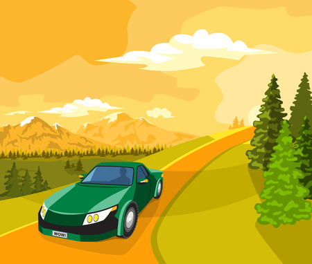 green road: Summer landscape. Sunset, green trees and car on the road. Illustration
