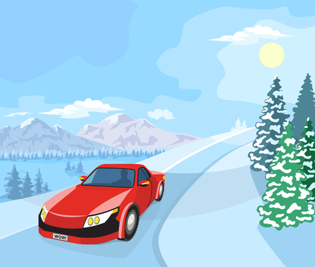 Winter landscape. Mountain tree in the snow, and cars on the road. Illustration