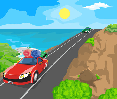 horizon over land: Idyllic seascape. The sun, blue sky and cars on the road. Illustration