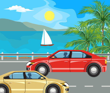 idyllic: Idyllic seascape. The island and sailing yacht at sea and cars on the road.