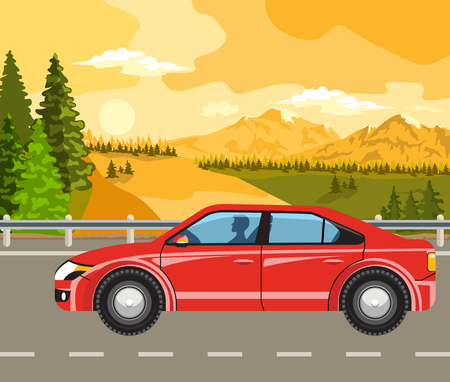 over the hill: Summer landscape. Sunset, green trees and cars on the road. Illustration