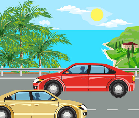 idyllic: Idyllic seascape. Palm trees, road and house with red roof on the island. Illustration