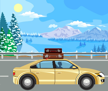 horizon over land: Winter landscape. Mountain tree in the snow, and cars on the road. Illustration
