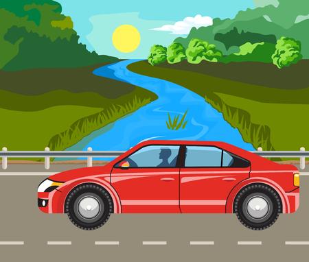 idyllic: Idyllic summer landscape. The river and car on the road. Illustration