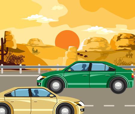 vaquero: Paisaje de la tarde del Salvaje Oeste. Bisontes y de vaquero y coches en la carretera.