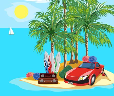 idyllic: Idyllic seascape. The car and luggage on a desert island.