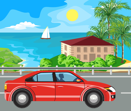 beach scene: Idyllic seascape. The car goes on the road past the island.