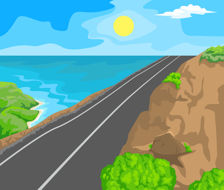 idyllic: Idyllic seascape. The sun, blue sky and a wide road with mountains.