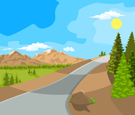 over the hill: Summer landscape. Mountains, plains and the road. Blue sky. Illustration