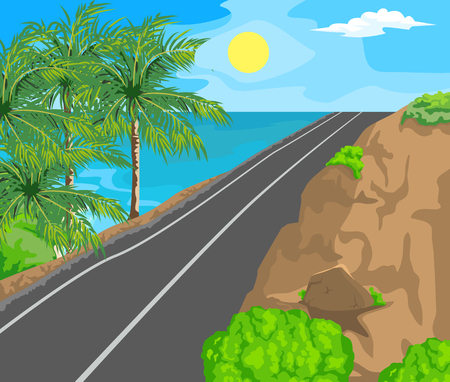 horizon over land: Idyllic seascape. The sun, blue sky and a wide road with mountains.