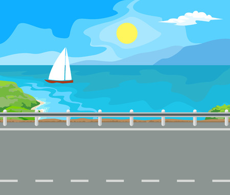 idyllic: Idyllic seascape. The sun, the mountains and sailing yacht at sea. Illustration