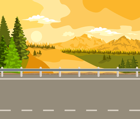 horizon over land: Summer landscape. Sunset, green trees and a wide road.
