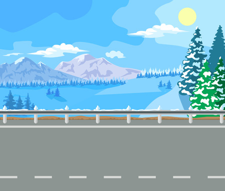Winter landscape. Mountain tree in the snow, and the wide road.