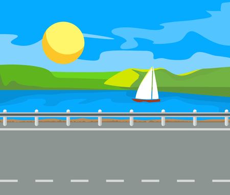 sky sun: Idyllic seascape. The sun, the mountains and sailing yacht at sea. Illustration