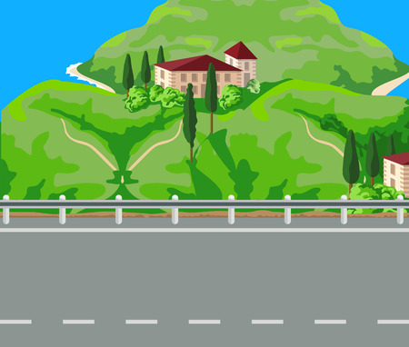 mountain landscape: The house with a red roof on the island. Road. Illustration