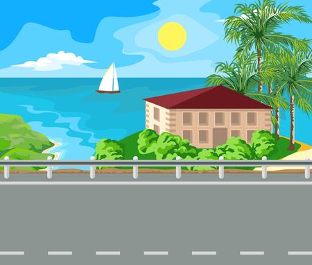 mountain road: Idyllic seascape. The sun, the island and sailing yacht at sea. Illustration
