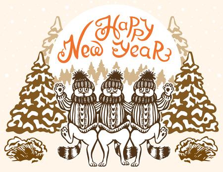 baile caricatura: Tarjeta del A�o Nuevo. Tres danza gato. Vestidos con gorros y su�teres. Caricatura.