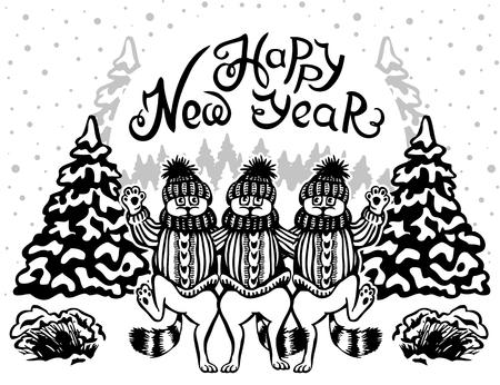 baile caricatura: Tarjeta del Año Nuevo. Tres danza gato. Vestidos con gorros y suéteres. Caricatura.