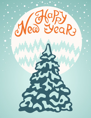 snow falls: New Year card. Fir trees on the background of the moon. Snow falls.