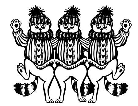 baile caricatura: Tres danza gato. Vestidos con gorros y suéteres. Caricatura.