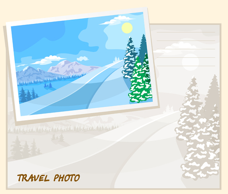 snowy mountains: Winter landscape. The mountains with snowy peaks, trees in the snow.