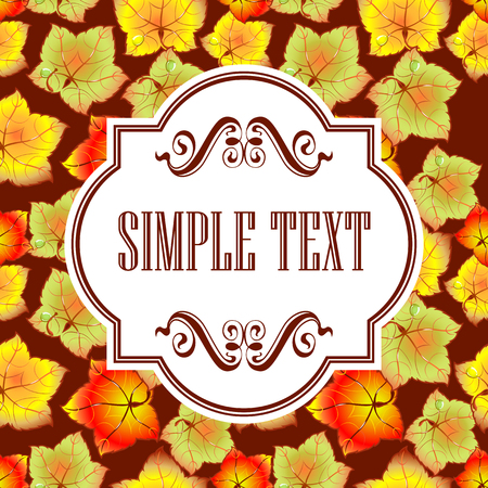 Autumn leaves of different colors. Template cards and invitations.
