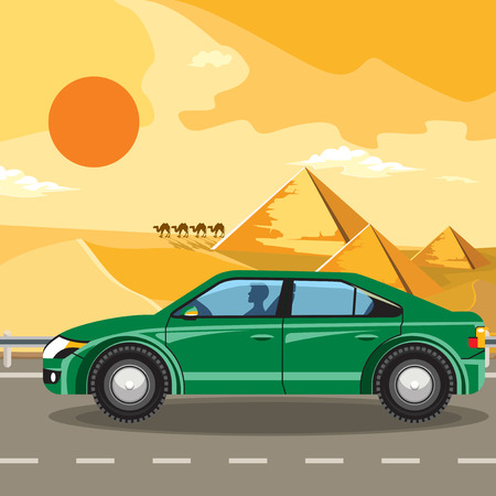 going green: Pyramids and camels going through the desert. Green car. Template album.