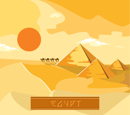 nomadic: Pyramids and camels going through the desert. The sun sets.