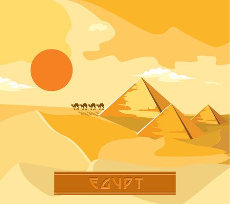 khafre: Pyramids and camels going through the desert. The sun sets.