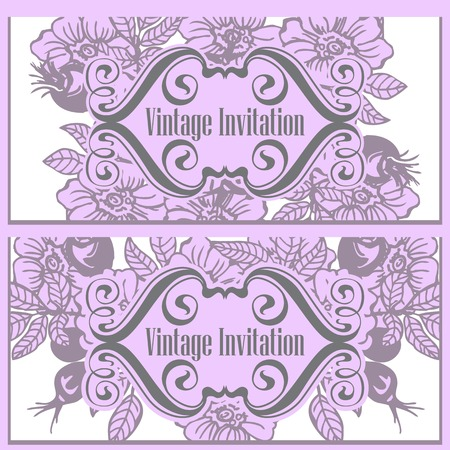 eglantine: Vintage template cards and invitations. Flowers and rose hips.