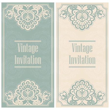 vintage lace: Invitation template in vintage style. Stylized vintage lace.