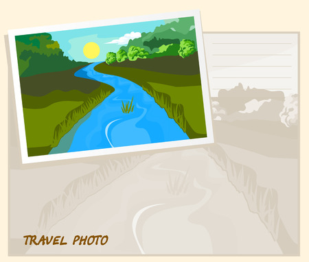 tranquil scene on urban scene: Landscape. On the plain the river flows. Template album.