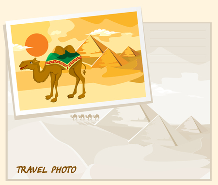 khafre: Pyramids and camel going through the desert. Template album.