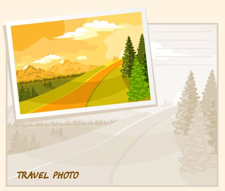 tranquil scene on urban scene: It sits sun illuminates the mountains and trees. Template album. Illustration