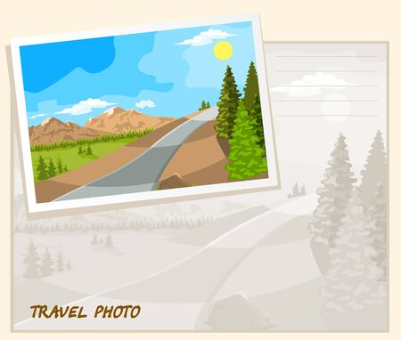 The mountains with snowy peaks and the road between the trees. Template album. Illustration