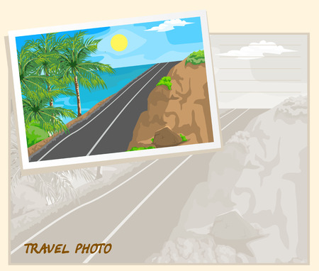 tranquil scene on urban scene: Mountain road and sea. Three palm trees. Template album.