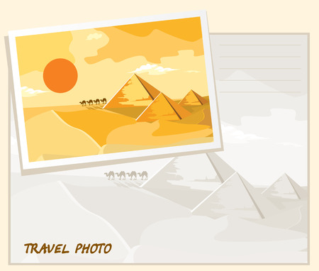 nomadic: Pyramids and camels going through the desert. Template album.