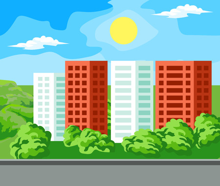 districts: The new neighborhood. Multi-storey house surrounded by green trees.