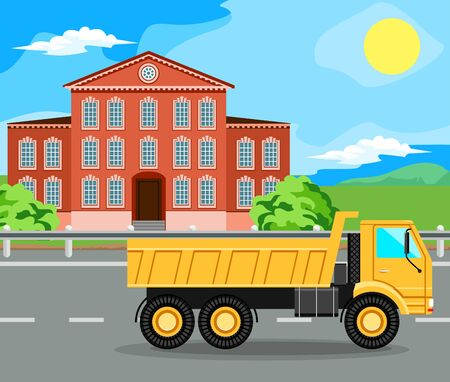 tipper: Tipper riding on the highway. The building and the green trees.
