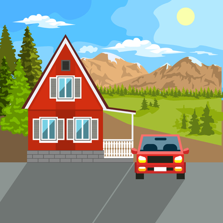 backyard: Vector flat illustration of two family house and sweet home outdoor street, private pavement, backyard with garage. Architecture with beautiful plants and bushes. Private house.