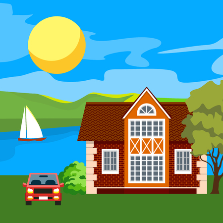 Vector flat illustration of two family house and sweet home outdoor street, private pavement, backyard with garage. Architecture with beautiful plants and bushes. Private house.