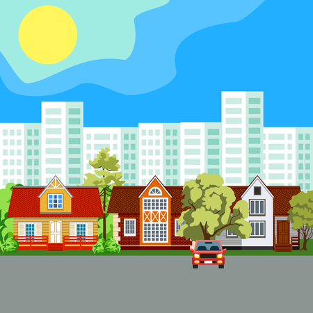 Family home. Traditional and modern house. Cityscape background. Urban landscape. Vector flat illustration.