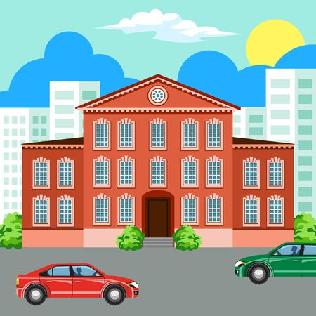 residential building: Traditional and modern house. Cityscape background. Urban landscape. Vector flat illustration.