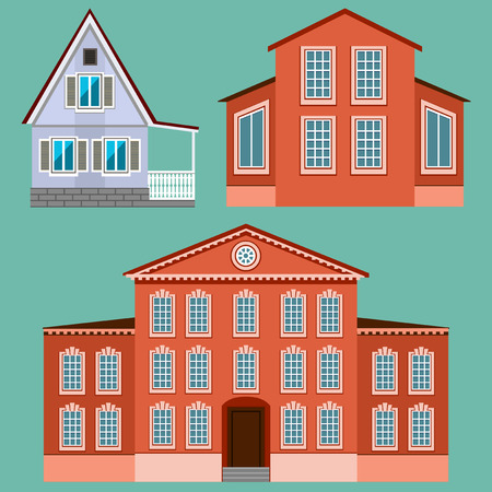 residential home: House set - home icon collection. Illustration group. Private residential architecture.