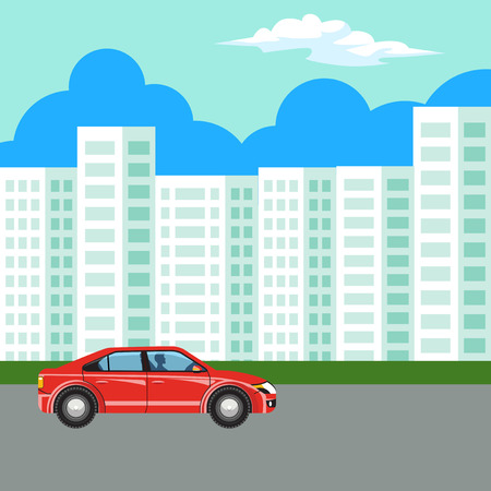 Modern and new apartment building. Urban landscape, the road and the car.