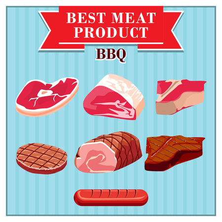 uncooked bacon: Set of colorful isolated meats to barbecue on a blue vintage background. Illustration