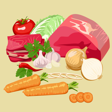 raw beef: Set of meat and vegetables for soup and main dishes.