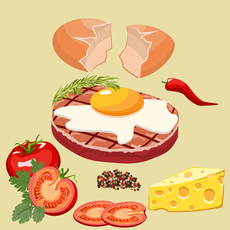 stuffing: Spicy cutlet with egg, tomato and cheese.