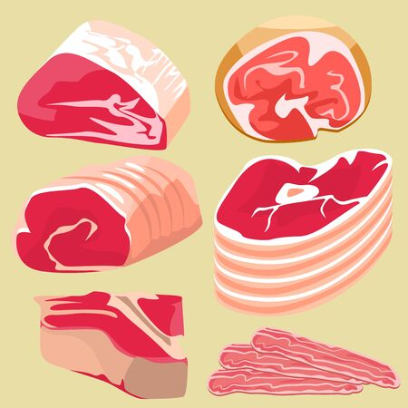 many: Set pieces of pork and beef on a beige background. Illustration