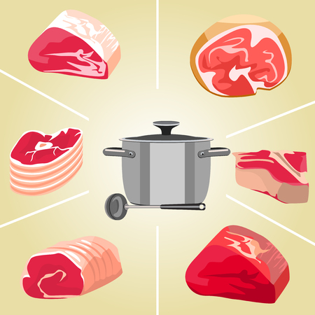 meat soup: Set of colorful isolated meat for soup on a beige background. Illustration